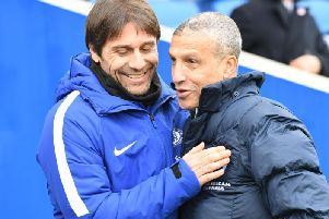 Brighton boss Chris Hughton (right) felt his side should have been awarded in the defeat to Chelsea this afternoon. Picture by Phil Westlake (PW Sporting Photography)