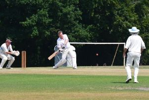Celebrity Piers Morgan in action at Newicket Cricket Club on Sunday