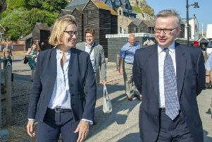 Michael Gove and Amber Rudd meet with the Hastings fishing community to discuss quotas, '13 July 2018 SUS-180718-105515001