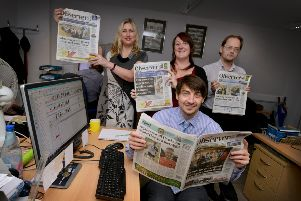 Members of the Hastings Observer series team. Back row (L-R): Kerry Stevens, Maria Hudd, Richard Gladstone. Front row: Simon Newstead SUS-181128-154555001