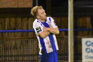 Alex Laing after scoring the winner. Picture by Grahame Lehkyj