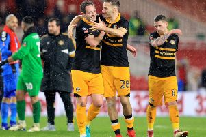 Mickey Demetriou (right) celebrates after Newport County forced a replay with Middlesbrough