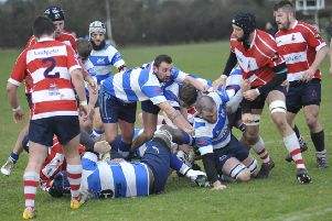Hastings & Bexhill on the attack against Crowborough on Saturday. Picture by Simon Newstead