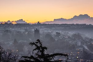 Looking over Hastings at the dawn of a bright clear and cold day. Thursday 31st Jan 2019