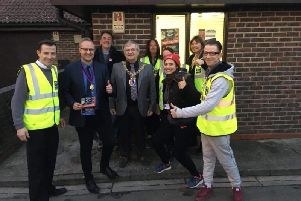 Surviving the Streets volunteers met with Hastings mayor Cllr Nigel Sinden, deputy mayor Cllr James Bacon and Cllrs Maya Evans and Paul Barnett outside the group's new base in St Leonards. SUS-191202-160012001