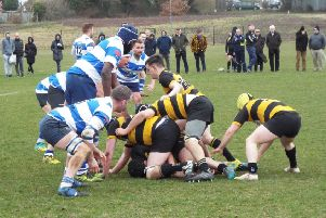 Forwards in conflict during Hastings & Bexhill Rugby Club's victory at home to Bromley. Picture courtesy Peter Knight