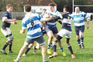 Tim Sills on the burst during Hastings & Bexhill Rugby Club's defeat away to Old Dunstonians. Picture courtesy Peter Knight