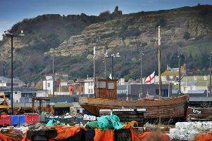 Hastings File: Fishing boats pictured around the Fishermen's Beach area. SUS-190124-130420001
