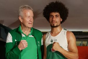 Senior boxer of the evening Sam Albuazy with West Hill Boxing Club coach Joe Lee