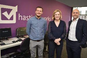 Amber Rudd MP (Secretary of State for Work and Pensions) visits The Work People in Robertson Street, Hastings.  L-R: David Hinton, Founder and Managing Director of The Work People, Hastings; Amber Rudd MP; Sam Scharf, Director of Community Investment at Orbit SUS-190804-114329001