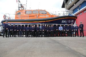 The crew of the newly named Hastings Lifeboat 'Richard and Caroline Colton'. Photo by RNLI/Kt Bruce SUS-190429-104300001