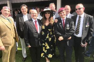 East Sussex Veterans' Hub 99/100 Group  and Linda Lusardi at Buckingham Palace Garden Party SUS-190528-091226001