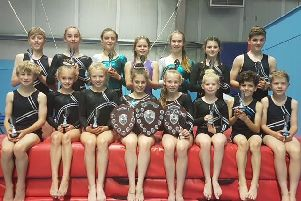 Hollington Gymnastics Club celebrating their tumble squad successes at the Sussex Championships