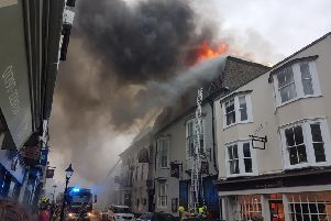 The George in Rye hotel on fire on Saturday (July 20). Picture: Elaine Thomas