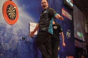 Rob Cross celebrates his win. Picture by Chris Dean/PDC