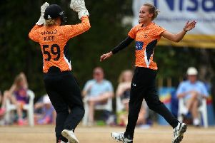Tash Farrant of Southern Vipers celebrates taking the wicket of Sarah Taylor of Surrey Stars with wicket keeper Carla Rudd during the Kia Super League match between Surrey Stars and Southern Vipers (Photo by Charlie Crowhurst/Getty Images)