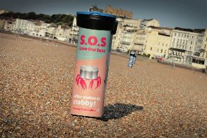 Save Our Seas bins on Hastings seafront beaches. SUS-191009-093903001