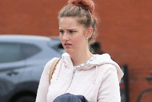 Tiffany Tate outside Brighton Magistrates' Court today (September 12)
