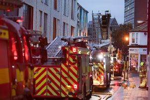 Fire crews at the scene in Brighton this morning
