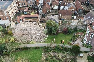 Emergency services at the scene in Lewes yesterday