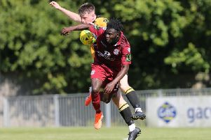 Action from Hastings United and East Grinstead Town in the 0-0 draw earlier this season. Picture by Scott White