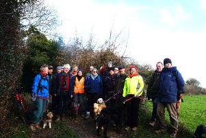 Around 20 people joined the walk on Sunday. Picture: Hastings Green party