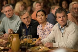 Udo Kier as Konrad, Christoph Waltz as Dusan Mirkovic, Hong Chau as Ngoc Lan Tran and Matt Damon as Paul Safranek