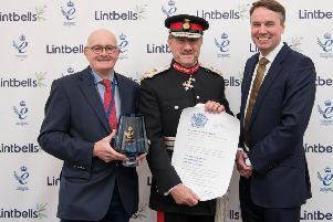 From left, John Davies, co-founder of Lintbells, Robert Voss, Lord-Lieutenant of Hertfordshire, and John Howie, co-founder of Lintbells.