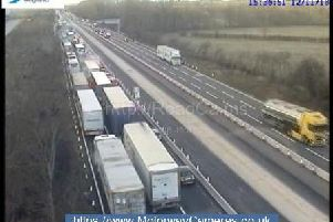 Long delays on the M1. Junction 14 northbound (pic via Highways England)