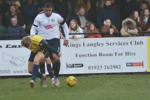 Kings Langley front man Rene Howe netted his side's second goal against Basingstoke on Tuesday night.
