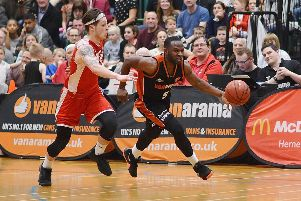 Hemel's Bode Adeluola was joint top-scorer against Nottingham Hoods with 22 points and seven assists on Saturday. (Picture by Lin Titmuss).