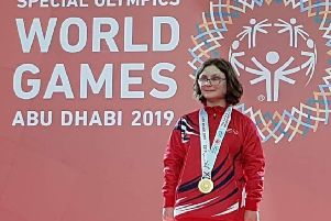 Skye Westwood on the podium with her gold medal in Abu Dhabi.