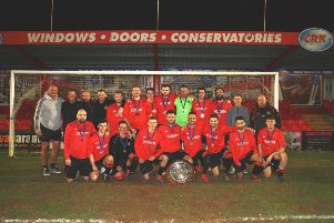 West Herts Senior Cup winners Hemel Hempstead Rovers with the Peace Shield at Vauxhall Road on Tuesday night after beating The Engineer Harpenden 2-0 in the final.