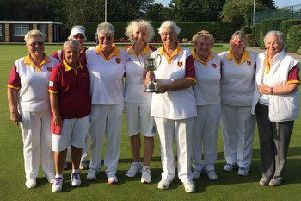 The title-winning Berkhamsted Bowls Club ladies with the Watford & District Jubilee Cup for 2019.