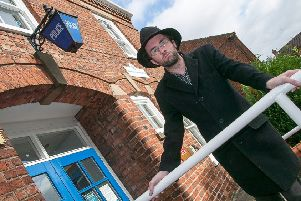 Stephen Briggs pictured outside Horncastle Police Station where he claims to have seen a ghost.