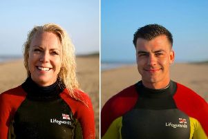 RNLI Lifeguards Courtney Fear and Arun Gray. Image: RNLI.