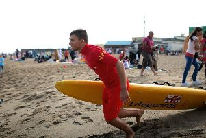 Young Lifeguard Janusz Burda, pictured in action. Photo: RNLI