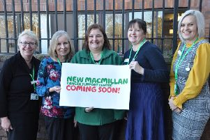 Macmillan's Lincolnshire Cancer Information and Support team outside the site of the new centre. EMN-190402-134406001
