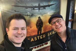 Lancaster Skies' Andy and Callum Burn at the Kinema in the Woods, in Woodhall Spa, for the release of the film.