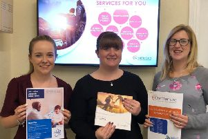 Here to help. From left - Gemma Baumber, paralegal with fellow Dementia Friends Champion Kate Twigg, Chattertons partner and solicitor and Georgie Harding, solicitor.