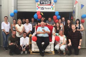 Staff gathered at Vyair on Friday to celebrate 15 years of trading. EMN-190907-103505001