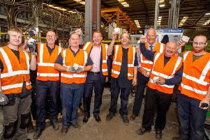 All smiles: Management and staff celebrate the 40th anniversary of Polpypipe in Horncastle - and confirmations that the site faces a very  positive future