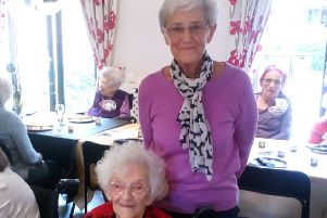 Gladys Waite is joined by her daughter Iris at the celebrations