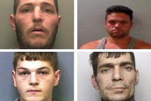 The four jailed men (clockwise from top-left) are Alan Pearson, Thomas Boswell, Jordan Herring and Ashley Squires.