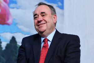 ABERDEEN, SCOTLAND MAY 08 : Gordon SNP candidate and Former First Minister Alex Salmond makes a speech as he is elected to parliament at the Aberdeen Exhibition and Conference Centre on May 08, 2015 in Aberdeen, Scotland. The United Kingdom has gone to the polls to vote for a new government in one of the most closely fought General Elections in recent history. With the result too close to call it is anticipated that there will be no overall clear majority winner and a coalition government will have to be formed once again. (Photo by Mark Runnacles/Getty Images)