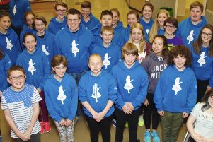 Garioch Youth Musical Society cast members of Alice at rehearsals.