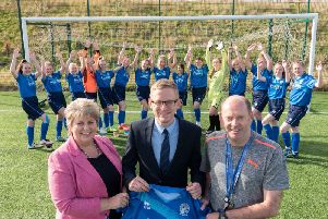 Alford Academy Women's Football Team with Head Teacher Moira Milne, Stuart Common and Brian Cruickshank