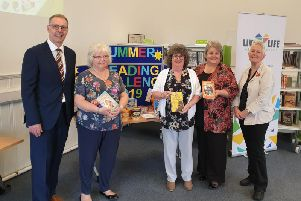 Gerry Stephens, Financial Director for Mackies of Scotland, Cllr Anne Simpson, Aberdeenshire Councils Culture and Sport sub-committee vice-chair, Cllr Gillian Owen, Aberdeenshire Councils Education and Childrens Services Committee chair, Cllr Anne Stirling, Aberdeenshire Councils Communities Committee chair and author Vivian French