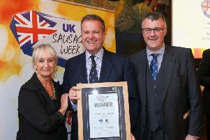 Host Lesley Waters with winner Robert McFarlane of Donald Russell with category partner Gordon King of Scottish Craft Butchers