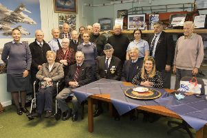 Paul (front, second from left) with the Scottish War Blinded group and RAF Lossiemouth personnel (� Crown Copyright)